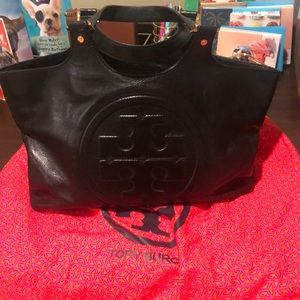 Tory Burch black leather logo tote